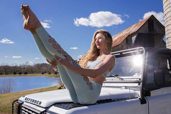Yoga on a Defender Jeep in Franklin TN