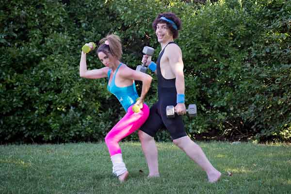 Funny 80s couple jazzercise photos