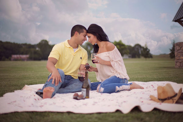 Engagement Couple Having a Picnic
