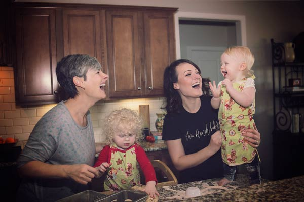 Family Baking Together - Three Generations