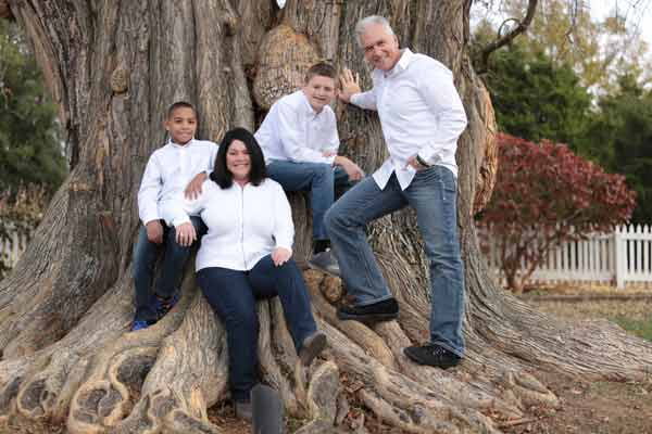 Family Photos in Front of a Historical Tree