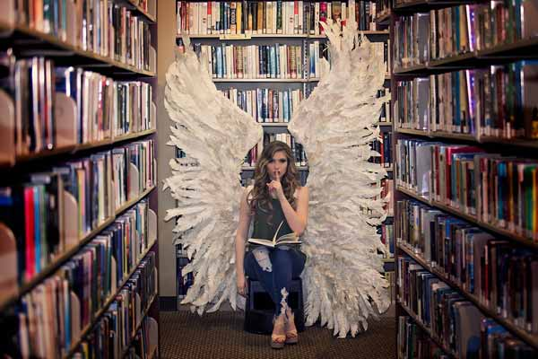 Book Nerd in our Custom Paper Angel Wings